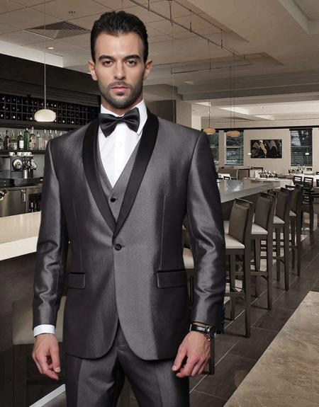 3PC 1Button Shale Collar Black Suit with Trim on the Collar