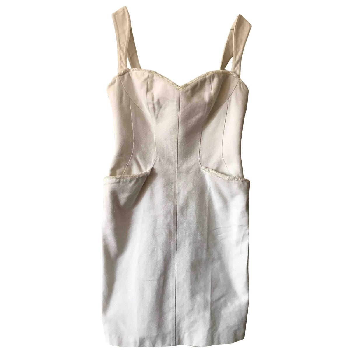 Mugler \N Kleid in  Weiss Baumwolle