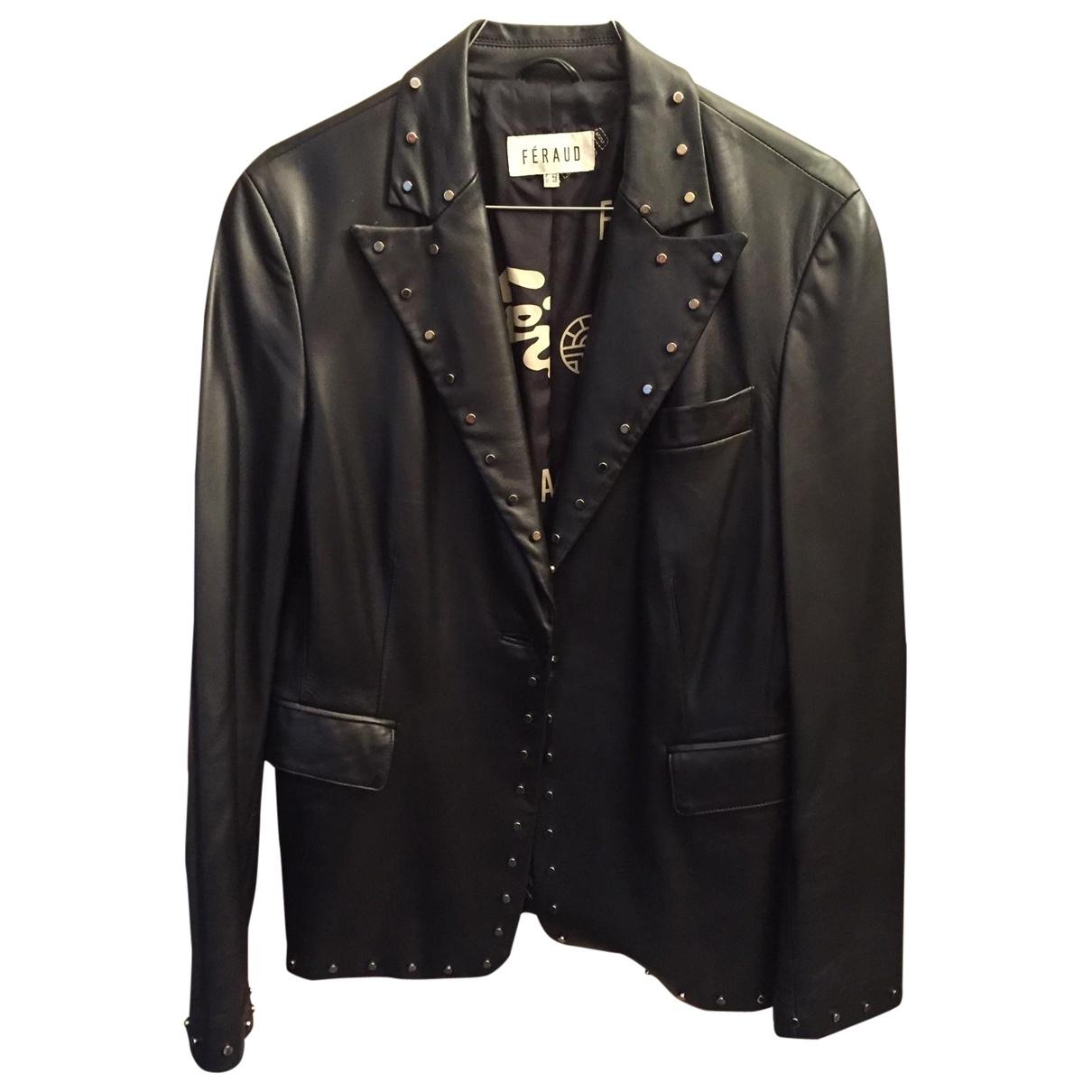 Louis Feraud \N Black Leather Leather jacket for Women 42 FR