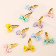 5pairs Toddler Girls Flower Pattern Bow Decor Hair Clip