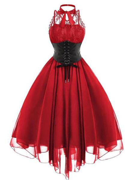 Milanoo Gothic Lolita JSK Dress Lace Chiffon Ruffles Lolita Jumper Skirts