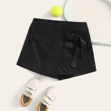 Maedchen Hosenrock mit Taschen Klappe, Schnalle und Guertel