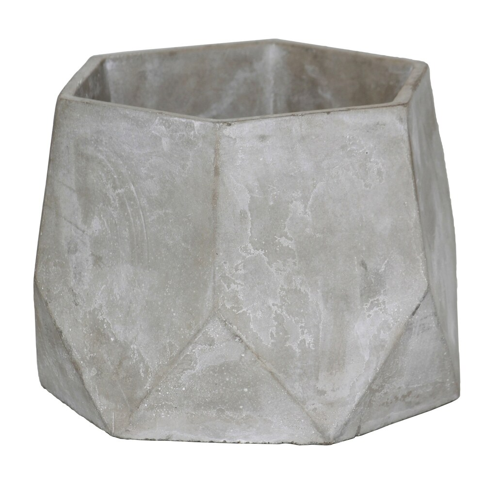 Cement Flower Pot with Pentagonal Body and Hexagonal Top, Gray