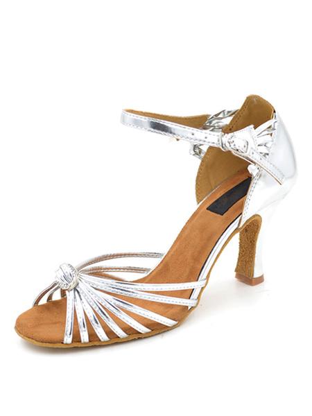 Milanoo Zapatos de bailes latinos de puntera abierta de tacon de stiletto de PU plateados para baile