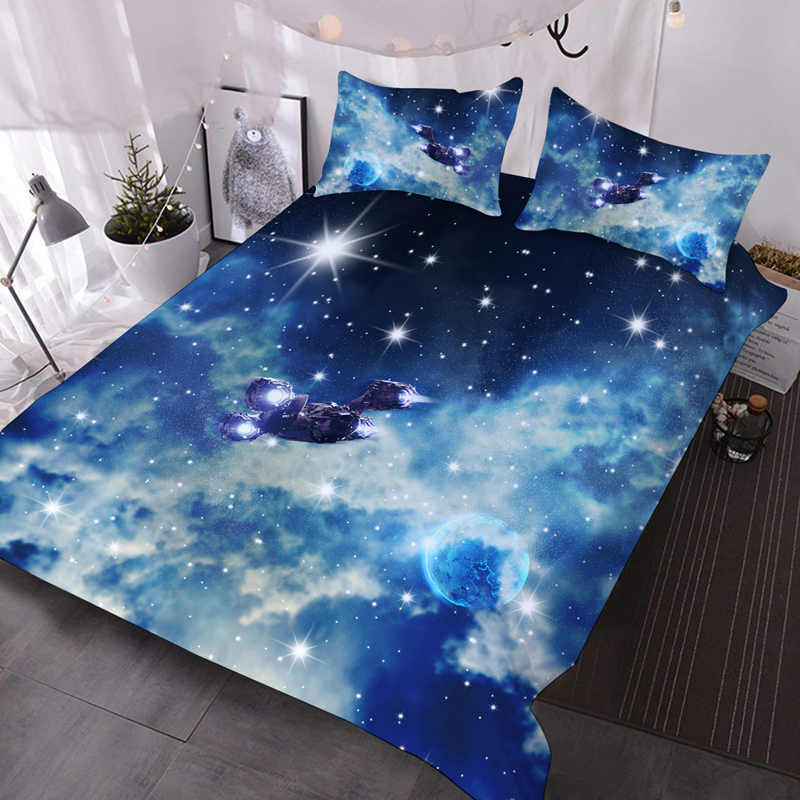 3D Airship in Galaxy Lightweight Warm Soft Machine Washable 3Pcs Bedding Down Comforter Insert with 2 Pillow Cases