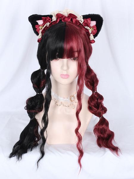 Milanoo Pelucas de Lolita dulce con cordones, bloque de color, fibra de gato, accesorios de Lolita burdeos