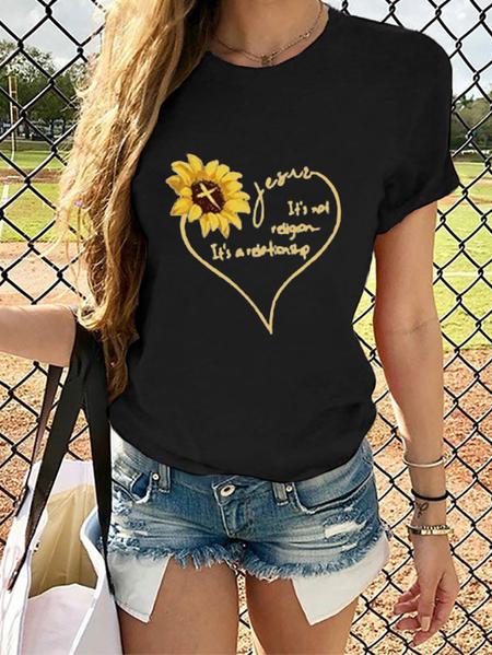 Yoins Sunflower & Heart Letter Crew Neck Short Sleeves Tee