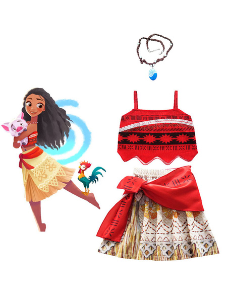 Milanoo Disney Moana Girls Adventure Outfit Animation Cosplay Costume Clothes With Necklace Halloween