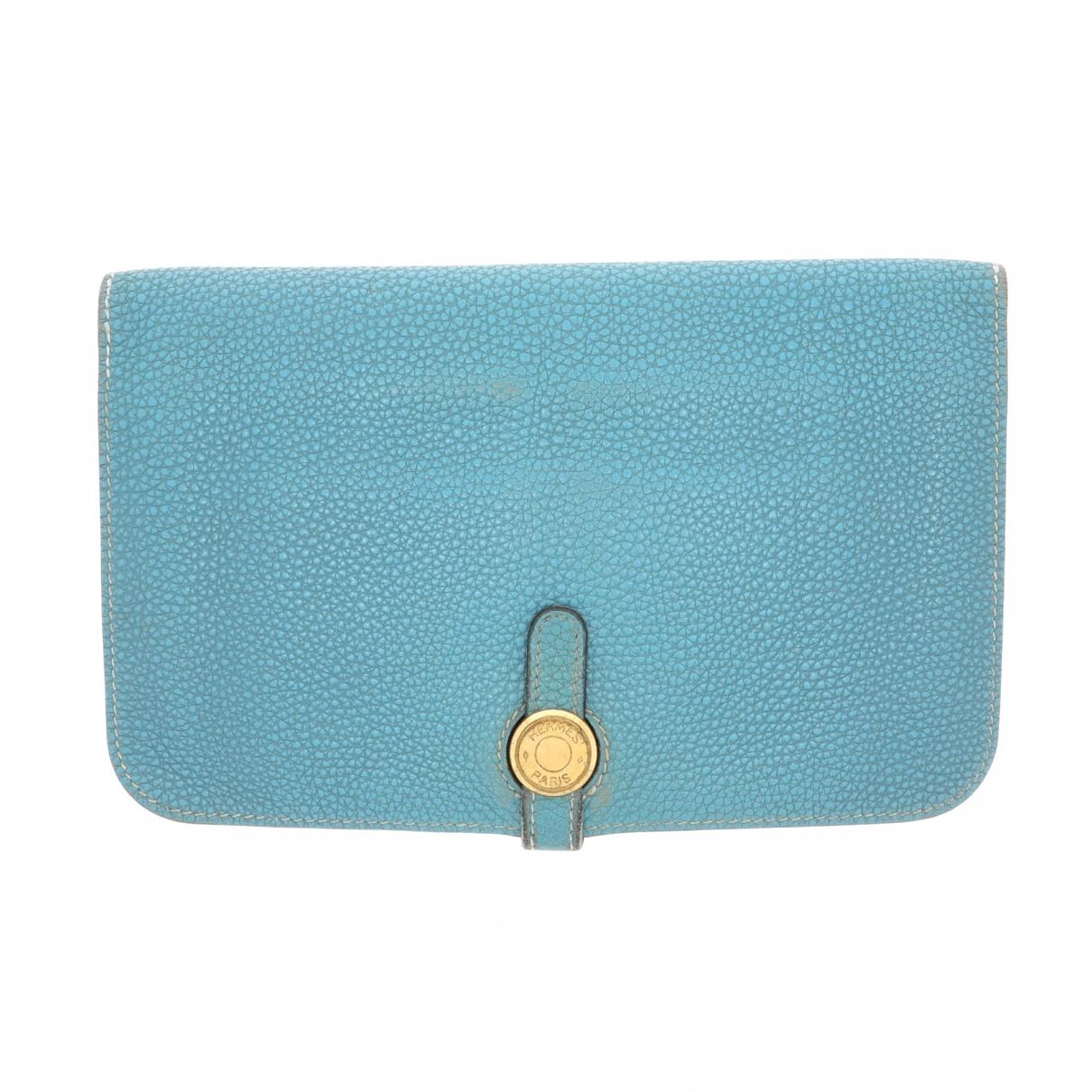 Hermes Dogon Portemonnaie in  Blau Leder