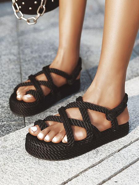 Milanoo Sandalias alpargatas para mujer Tallas grandes Sandalias planas cruzadas con punta abierta en negro