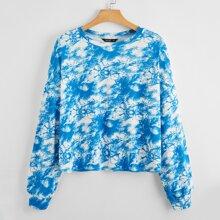 Pullover mit sehr tief angesetzter Schulterpartie und Batik