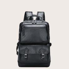 Men Buckle Decor Zip Front Backpack