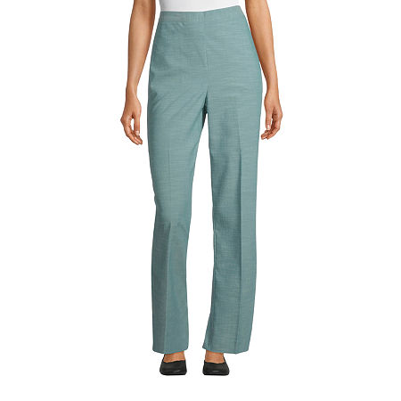 Alfred Dunner Womens Straight Flat Front Pant, 14 Petite Short , Green