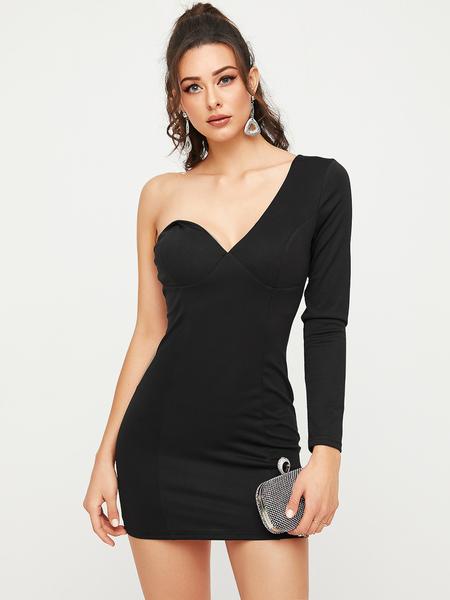 YOINS Black Zipbackfastening One Shoulder Long Sleeves Dress