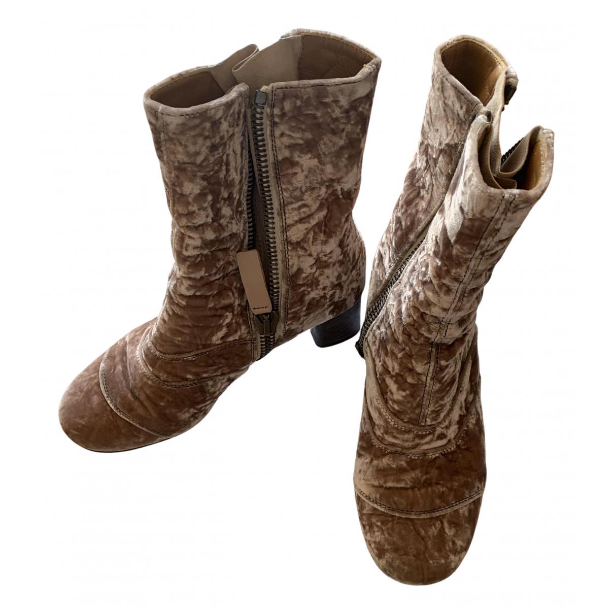 Chloé Lexie Pink Velvet Ankle boots for Women 36 IT