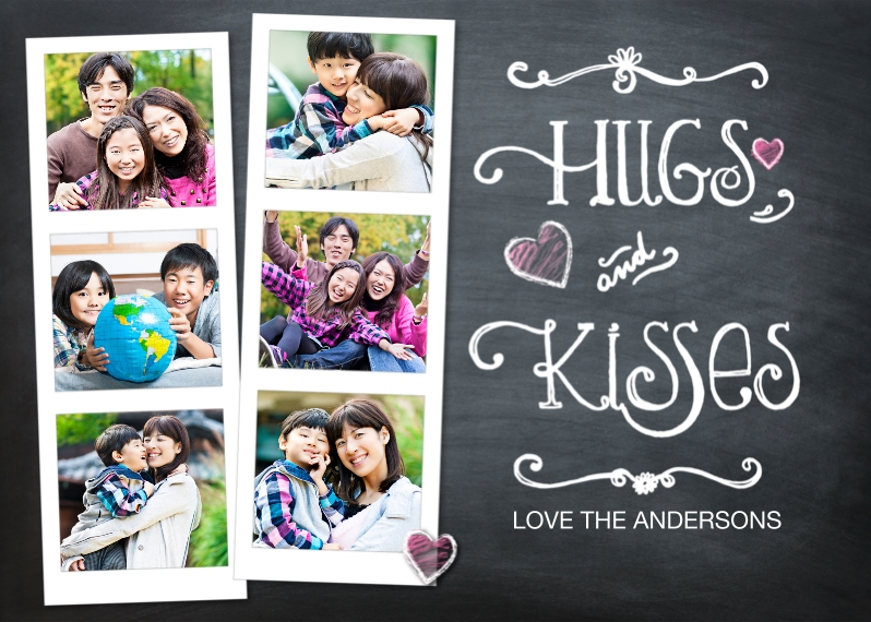 Valentine's Cards 5x7 Cards, Premium Cardstock 120lb with Rounded Corners, Card & Stationery -Valentine Hugs and Kisses