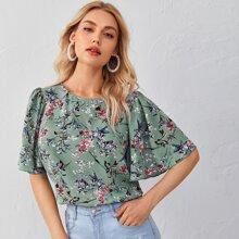 Floral Print Flounce Sleeve Top