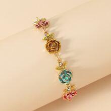 Flower Decor Chain Bracelet