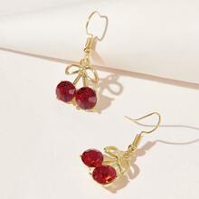 Rhinestone Cherry Drop Earrings