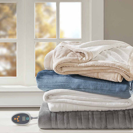 True North Reversible Ultra Soft Plush Electric Blanket, One Size , Beige