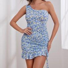 Kleid mit einer Schulter, Kordelzug, Rueschen und Blumen Muster