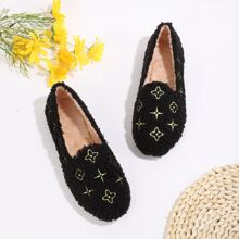 Flower Embroidered Fluffy Flats
