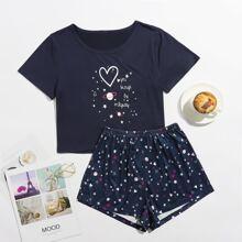Galaxy And Heart Print Pajama Set