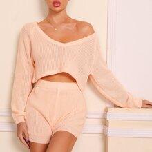 Plunging Neck Raglan Sleeve Sweater & Knit Shorts Set