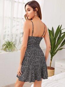 Dalmatian Print Self Belted Wrap Cami Dress