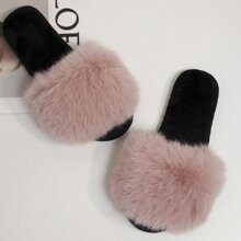 Open Toe Wide Fit Fluffy Slippers