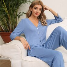 Rib-knit Solid PJ Set