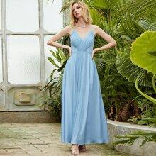 Angel-Fashions Crisscross Tie Back Pleated Detail Cami Dress