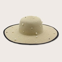 Faux Pearl Decor Straw Hat