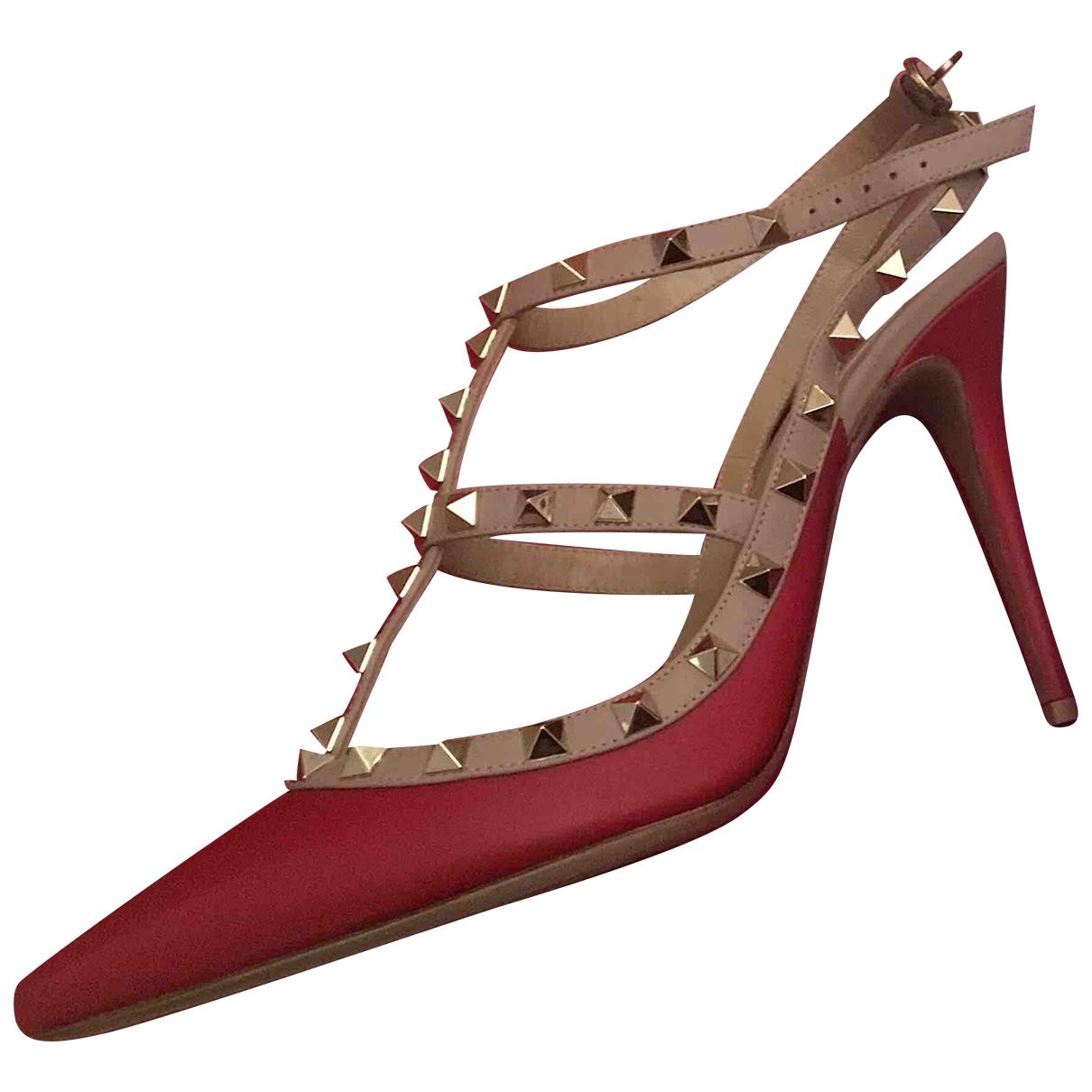 Valentino Garavani - Escarpins Rockstud pour femme en cuir - rouge