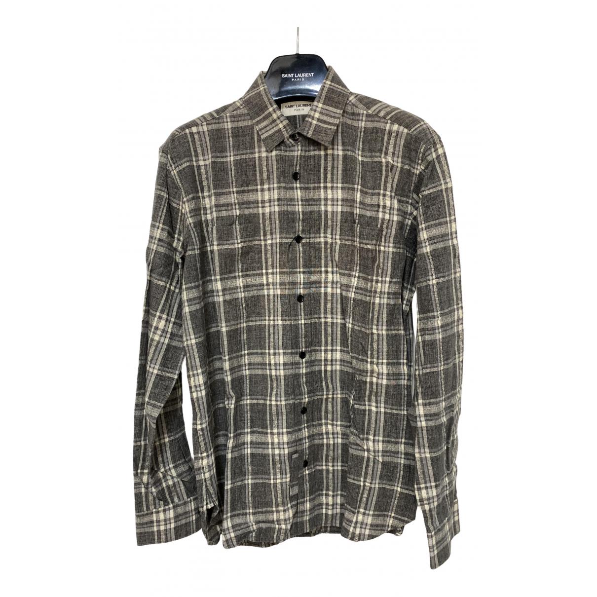 Saint Laurent - Chemises   pour homme en coton - gris