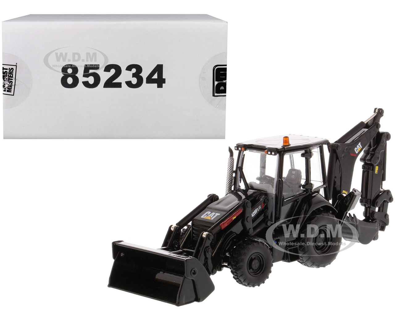 CAT Caterpillar 420F2 IT Backhoe Loader Special Black Paint Finish with Work Tools and Two Figurines 30th Anniversary Edition High Line Series 1/