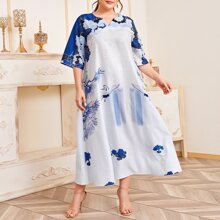 Plus Notch Neck Crane & Auspicious Cloud Print Dress