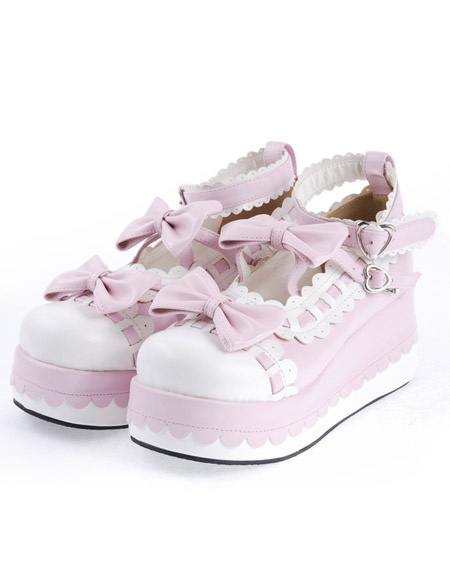 Milanoo Sweet Lolita High Platform Lolita Shoes Bow Decor Ankle Straps with Trim