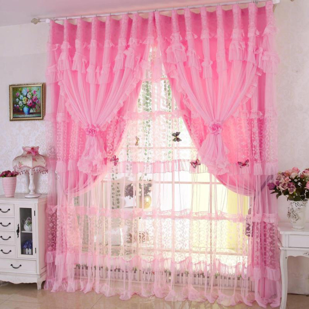 Princess Style Lace Decoration Blackout Curtain Drapes Custom Double Pinch Pleat for Living Room Bedroom