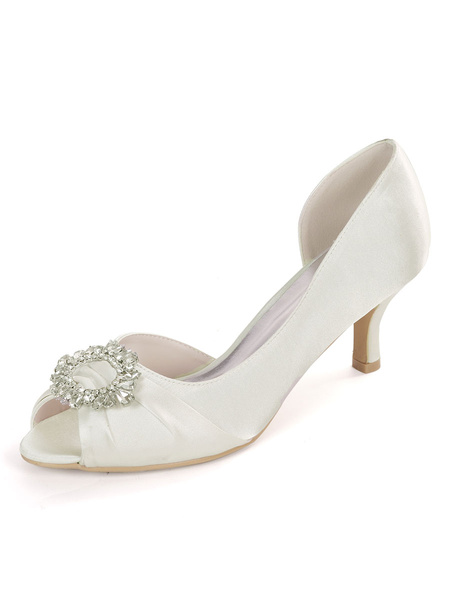 Milanoo Ivory Wedding Shoes Satin Peep Toe Rhinestones Kitten Heel Bridal Shoes Mother Of The Bride Shoes