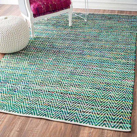 nuLoom Hand Woven Chevron Rochell Rug, One Size , Green