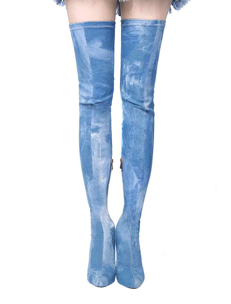 Milanoo Thigh High Boots Womens Textile Pointed Toe Stiletto Heel Stretch Over The Knee Boots