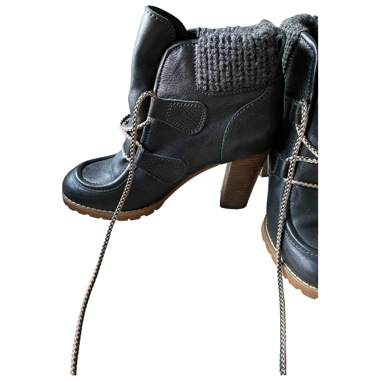 See By Chloé \N Anthracite Leather Ankle boots for Women 36 EU