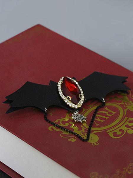 Milanoo Joyas de Lolita gotica Cadena de joyas de alas de sangre Broche de Lolita negro