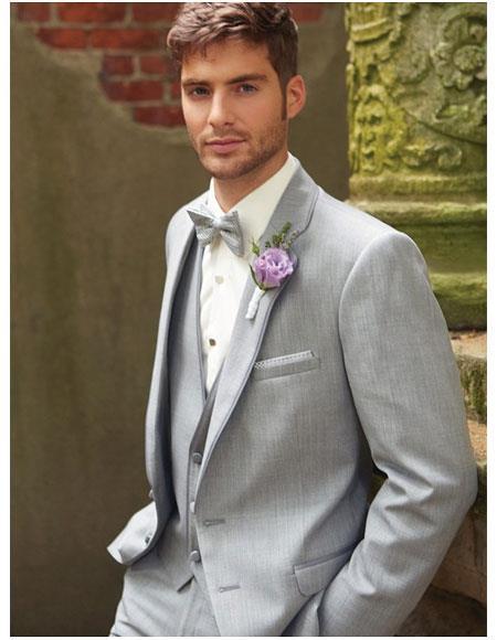 Mens Grey Single Breasted Notch Lapel 2Button Vest Suit