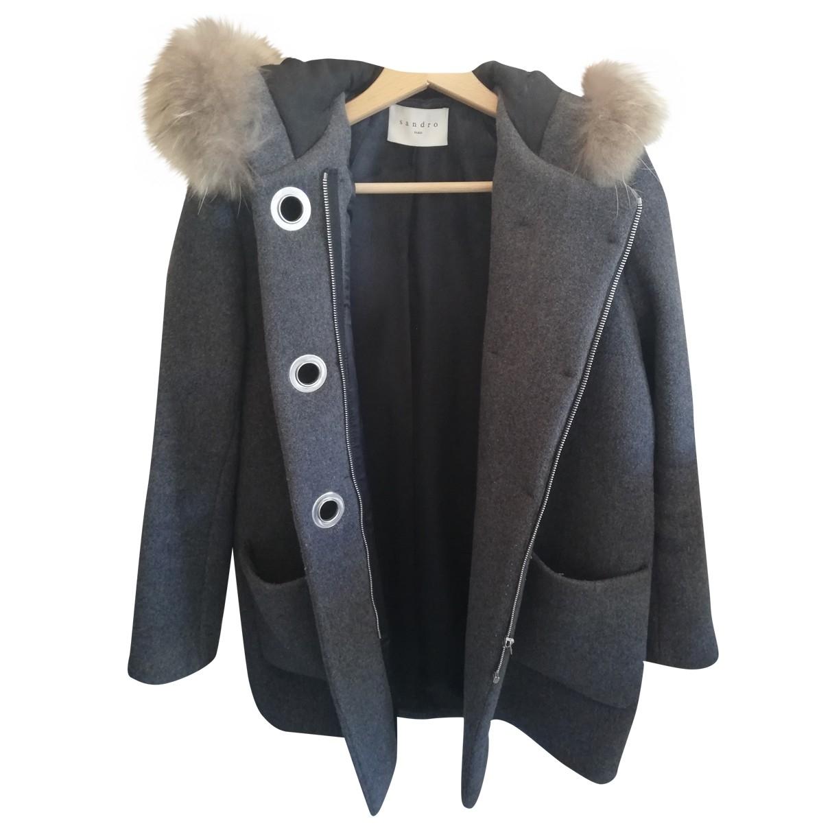 Sandro \N Grey Wool coat for Women 36 FR