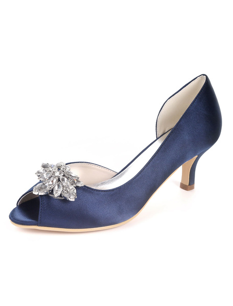 Milanoo Satin Wedding Shoes Ink Blue Peep Toe Rhinestones Mother Shoes Kitten Heel Wedding Guest Shoes