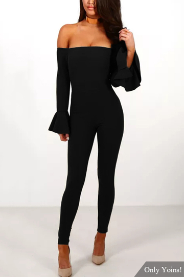 Yoins Black Off-The-Shoulder Frill Sleeve Bodycon Jumpsuit