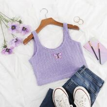 Butterfly Embroidery Crop Knit Top