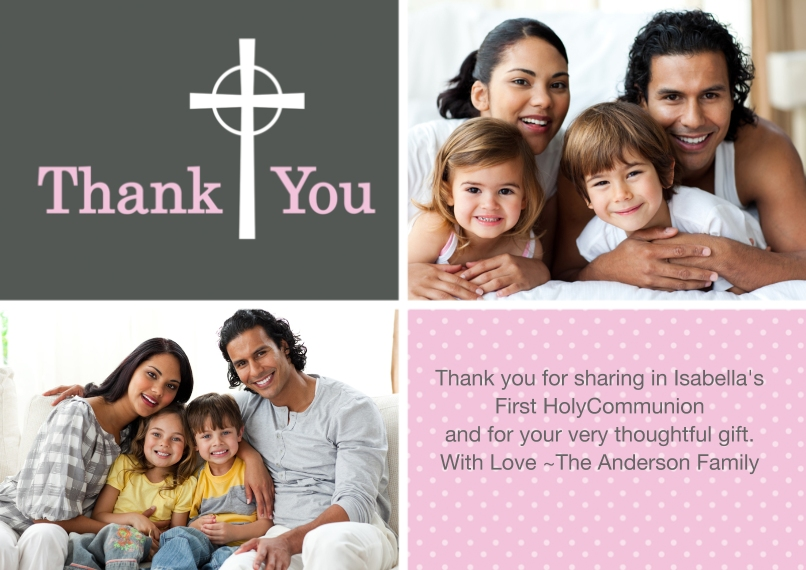 Thank You Cards 5x7 Cards, Premium Cardstock 120lb, Card & Stationery -Thank You Cross Dots 2 Photo Pink